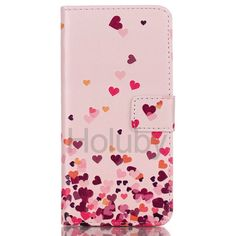 Wallet Style Magnetic  Side Flip Stand TPU + PU Leather Case for Samsung Galaxy S6 Edge Plus - Pink Hearts