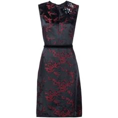 Marc Jacobs Cherry Blossom dress ($760) ❤ liked on Polyvore featuring dresses, black, sleeveless floral dress, velvet dress, print dress, a line dress and floral print dress