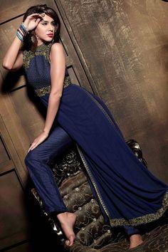 Splendorous Navy Blue #Pant #Kameez Set