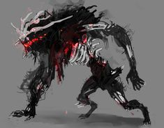 Grimm Encyclopedia: The Voracity by KnightyNightey on DeviantArt Monster Art, Monster Concept Art, Fantasy Monster, Monster Design, Shadow Monster, Shadow Creatures, Dark Creatures, Mythical Creatures Art, Fantasy Creatures