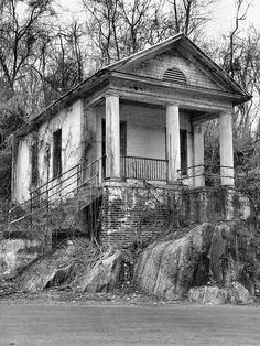 Greek Revival -Amazing abandoned church along Riverside Circle in Big Island,VA. Abandoned Churches, Abandoned Property, Old Churches, Abandoned Mansions, Abandoned Places, Beautiful Ruins, Beautiful Stairs, Haunted Places, Old Buildings