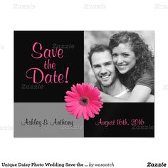 Unique Daisy Photo Wedding Save the Date Magnet Magnetic Invitations