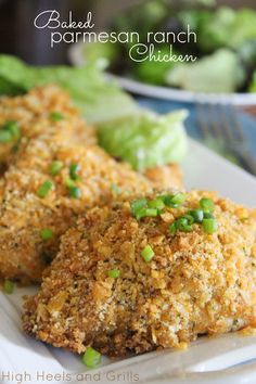 Baked Parmesan Ranch Chicken. Easiest dinner ever, but tastes like gourmet cooking. #recipe http://www.highheelsandgrills.com/2013/06/baked-parmesan-ranch-chicken.html
