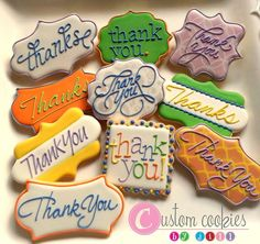 Thank You Cookies - Custom Cookies by Jill Thank You Cookies, Crazy Cookies, Fancy Cookies, Iced Cookies, Cute Cookies, Cupcake Cookies, Sugar Cookies, Sweet Cookies, Sugar Cookie Royal Icing