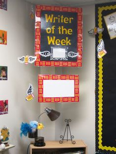 writer of the week corner! Could set up with dictionary, genre posters, editing guide, pencils etc.