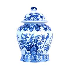 """Beautiful Blue and White Porcelain Chinoiserie Bird Temple Jar 13"""""""