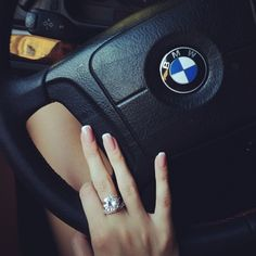 girl, bmw, ring, car, nails