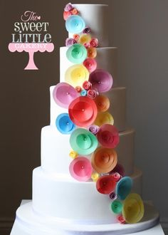 Rainbow wedding cake made with wafer paper