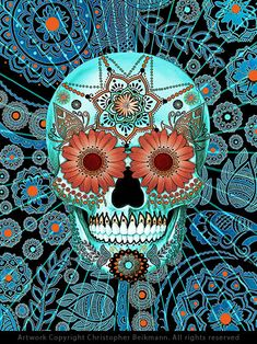 Unusual sugar skull artwork featuring turquoise blue and orange tones on black. This highly decorated Day of the Dead art is by C Beikmann