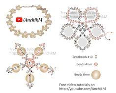 Свадебное колье в цветочном стиле из бисера и бусин / Видеоуроки / Biserok.org