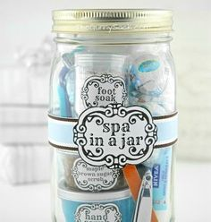209347082652442363 DIY Spa In A Jar... A great gift idea for a bridesmaid, graduate, birthday girl or teacher.