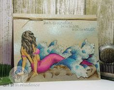 Swim the Sea: #tutorial for @imaginecrafts using @crafterscomp stamps and @spectrumnoir #coloredpencils + Memento ink & #Fireworks sprays #mermaid #ocean #beach
