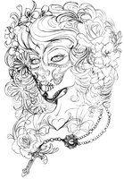 Day of the Dead Catrina sugar skull Skull Coloring Pages, Coloring Pages To Print, Coloring Book Pages, Coloring Sheets, Trendy Tattoos, New Tattoos, Girl Tattoos, Feminine Tattoos, Skull Tattoos