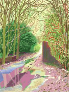 David Hockney The Arrival of Spring in Woldgate, East Yorkshire in 2011 (twenty eleven) - 2 January iPad drawing printed on paper x 108 cm; one of a work Courtesy of the artist © David Hockney Illustration Arte, Gravure Illustration, Ipad Art, Arte Pop, David Hockney Landscapes, David Hockney Ipad, David Hockney Art, David Hockney Paintings, Landscape Art