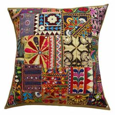 Kutch Embroidered Sofa Pillow Cover Ethnic Multicolor Patchwork Cushion Case  -  Ebay $20.00