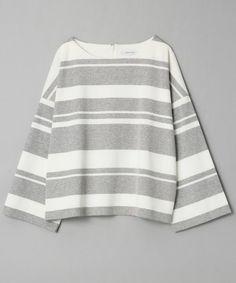 JEANASIS(ジーナシス)のマルチボーダープルオーバー8S/714128(Tシャツ/カットソー)|グレー×ホワイト
