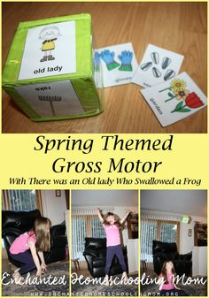 Celebrate spring by getting active with this spring themed gross motor activity to go along with the storybook There was an Old Lady Who Swallowed a Frog. - repinned by @PediaStaff – Please Visit ht.ly/63sNtfor all our pediatric therapy pins