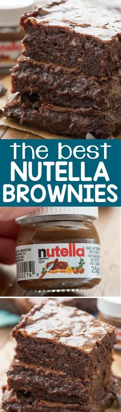 These are the BEST NUTELLA BROWNIES EVER - one bowl, no mixer, just TONS of chocolate. They're so fudgy and rich they are the PERFECT brownie recipe!
