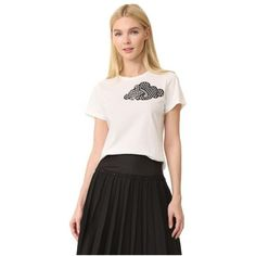 Marc Jacobs Classic Tee ($255) ❤ liked on Polyvore featuring tops, t-shirts, ivory, jersey t shirt, crewneck t shirt, short sleeve lace tee, short sleeve t shirts and crewneck tee