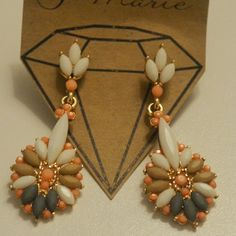Spring Drop Earrings Peach, gray, tan, and white medium size pair AshBmarie Jewelry Earrings