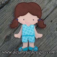 Zoe felt doll and outfit. Fabric may vary. Available at https://www.etsy.com/shop/SchoolhouseBoutique