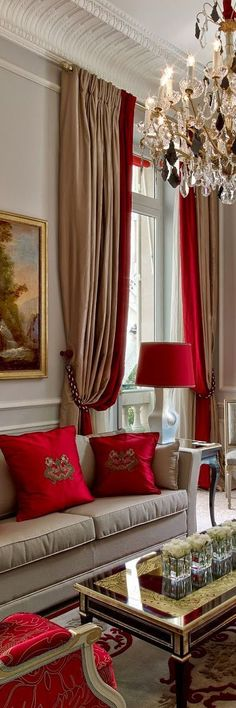 Discover the best luxury living room inspiration for your next interior design project! Find more at www. - Luxury Living For You Living Room Decor Colors, Living Room Red, Living Room Designs, Curtain Ideas For Living Room, Red Curtains Living Room, Home Interior, Living Room Interior, Luxury Interior, Red Interior Design