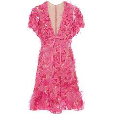 Elie Saab Embroidered Tulle V-Neck Dress (377,710 DOP) ❤ liked on Polyvore featuring dresses, skater skirt, flared mini skirt, butterfly dress, v neck dress and pink tulle dress
