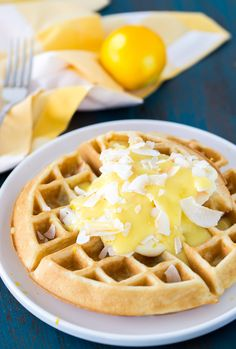 ... coconut and lemon zest in the waffles to a creamy lemon pie topping