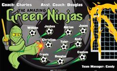Ninjas-Amazing-Green-41167 digitally printed vinyl soccer sports team banner. Made in the USA and shipped fast by BannersUSA. www.bannersusa.com