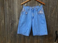 90s Vintage Jean Shorts High Waist Grunge Plaid by ThingsRedeemed, $25.00