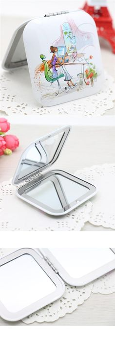 [Visit to Buy] CN-RUBR Lovely Mini Beauty Pocket Mirror Square Portable Double Sides Stainless Steel Cosmetic Makeup Normal Magnifying Mirrors #Advertisement