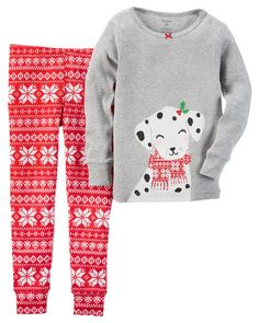 Carter's Baby Girls 2 Pc Cotton Print, gray heather Dalmatian w red fair aisle. Outfits Niños, Baby Outfits, Toddler Outfits, Kids Outfits, Baby Girl Pajamas, Carters Baby Girl, Baby Girls, Girls 4, Toddler Pajamas