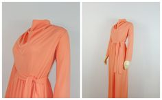 Vintage Dress Plus Size Maxi Dress High by 1960s Fashion, Vintage Fashion, Vintage Dresses, 60s Dresses, Full Length Skirts, Plus Size Vintage, Plus Size Maxi Dresses, High Collar, Belted Dress