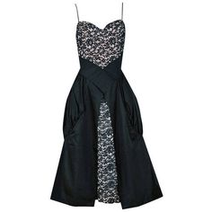 Preowned 1950's Elegant Black Rhinestone Lace-illusion & Silk Sculpted... ($475) ❤ liked on Polyvore featuring dresses, vintage, black, vintage silk dress, lbd dress, sweetheart neckline dress, drape dress and rhinestone dress