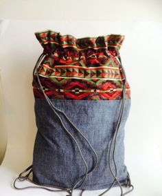 """Southwestern print and Chambray Denim Backpack.  14""""W x 18""""H Lightweight Rucksack Styling. by CollarRap on Etsy"""