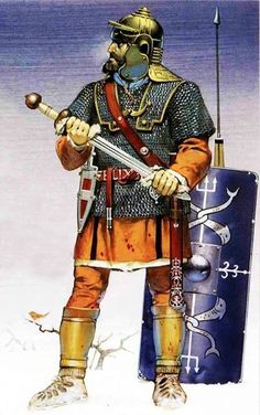 Naval infantryman (Indicated by the symbols on his blue shield). Early 3rd century CE.