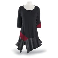***idea*** good way to up-style a plain pull-over incorporating parts of 2 other garments. (Again: diagonal lines are flattering)  Stripes and Solids Tunic - Women's Clothing & Symbolic Jewelry – Sexy, Fantasy, Romantic Fashions