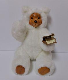 "Robert Raikes 11"" White Teddy Bear 17010 TERRY Wood Face Bear Retired 1988 #AllOccasion"