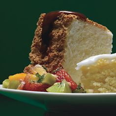 Orange Angel Food Cake with Caramel Sauce and Tropical-Fruit Compote ...