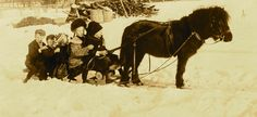 Antique Sleighs and Vintage Sleds children on sled with pony