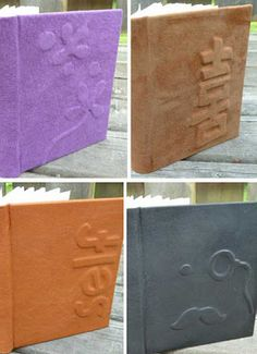 leather bindings with raised designs by Rhonda Miller