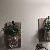 Rustic Home DecorSet of 2 Mason Jar SconcesHanging Mason Jar 16 Oz Mason Jars, Colored Mason Jars, Ball Mason Jars, Mason Jar Sconce, Hanging Mason Jars, Home Decor Sets, Rustic Wall Sconces, Decorated Jars, Wood Colors