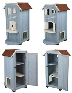 This is a 3-story wooden cat house with weatherproof finish that can be used both indoors and out.