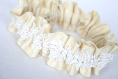 Simple Ivory and vintage lace wedding garter-by The Garter Girl