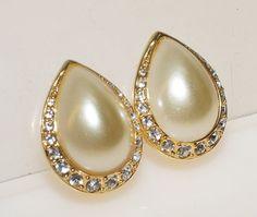 Vintage Swarovski Signature Tear Drop Pierced Earrings by moodsoflife. Explore more products on http://moodsoflife.etsy.com