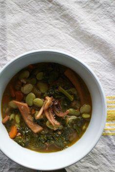 Once Upon A Table {Two Calamari Recipes – Papas con Chocos & Habas con Chocos} » The Saffron Girl