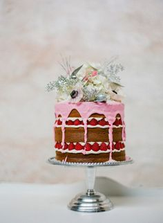 """This whimsical one tier naked cake, all dippedin pink icing.. We are take a look at something sweet with the hottest wedding cake trend of the moment """" One Tier Wedding Cake """" these 37 one tier wedding cakes beautiful, colourful cakes make a big statement that is all about the pretty."""