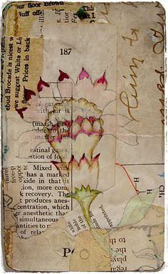 Lynne Hoppe - Watercolors, prismacolor pencils matte gel medium on old paper. Mixed Media Collage, Collage Art, Art Journal Pages, Art Journaling, Junk Journal, Art Journal Techniques, Scrapbook, Handmade Books, Art Journal Inspiration