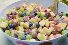 flexible fruit salad a summer staple....the best part is the dressing!