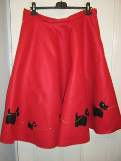 Items similar to Rockabilly style full circle novelty felt skirt with Scottie Dogs! Very VLV! on Etsy Rockabilly Style, Rockabilly Fashion, Scottie Dogs, Vintage Crafts, Cheer Skirts, 1950s, Felt, Stuff To Buy, Etsy